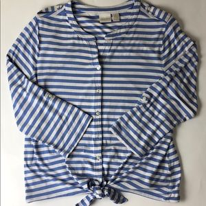 Chico's blue & white striped button-down tie front